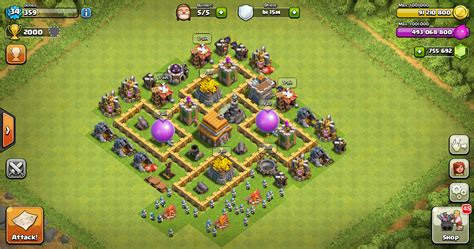 layout pertahanan coc th 5 thropy base clash of clans th 5 terbaru design base