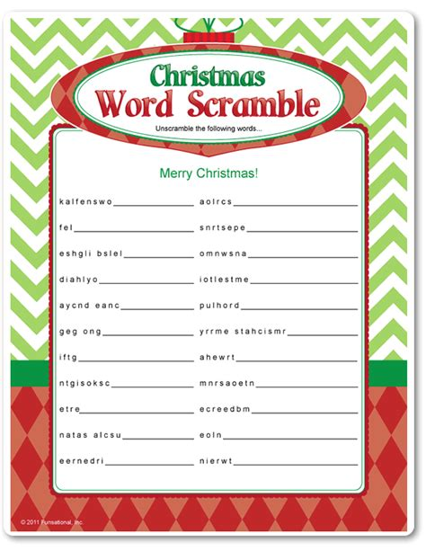 Printable Word Games Adults | printable christmas word scramble funsational com