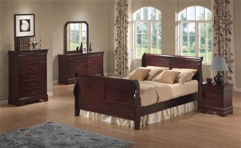 cherry wood queen sleigh bedroom set houston mattress king