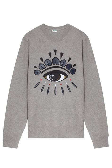 Mk2082 Eye Sweater Grey kenzo eye embroidered sweater in gray for grey lyst
