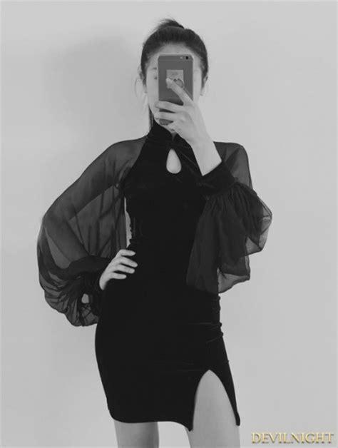 Dress Cheongsam Style black velvet cheongsam style dress