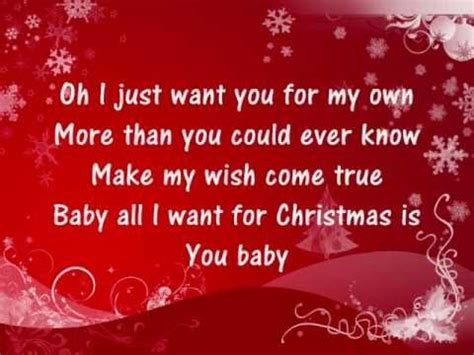 All I Want For by Carey All I Want For Is You Lyrics