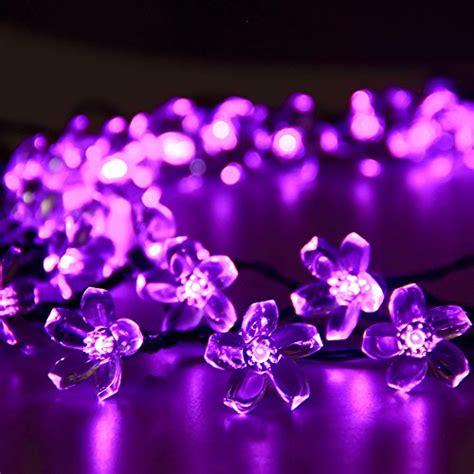 purple lights for bedroom solar outdoor string lights 50 led purple blossom