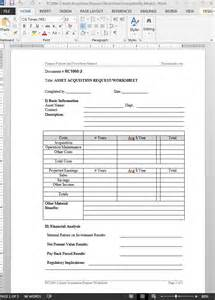 acquisition template asset acquistion request worksheet template