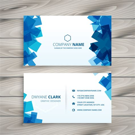 Abstract Blue Shapes Business Card Template Vector Design Illust Download Free Vector Art Card Template Blue
