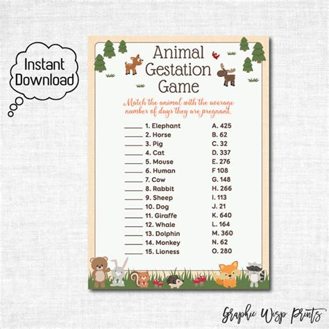 Printable Animal Gestation Game | woodland baby shower animal gestation game printable animal