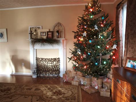 simple rustic christmas tree mix small white lights