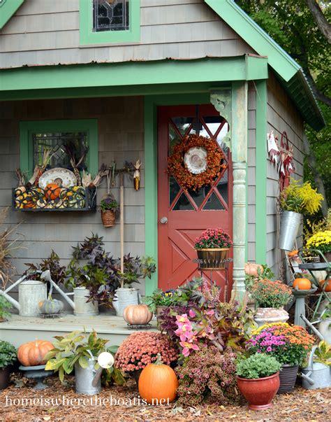 fall potting shed inspiration  quaint garden sheds