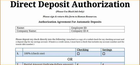 authorization letter to deposit by rbi 9 payroll direct deposit form template simple salary slip