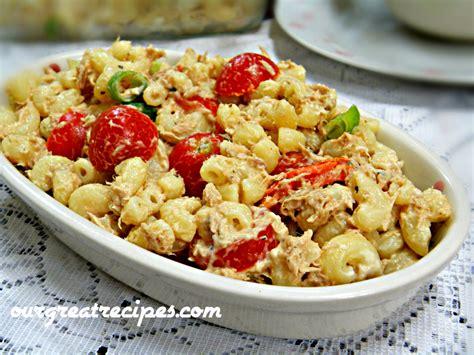 pasta salad with tuna tuna macaroni salad recipe dishmaps