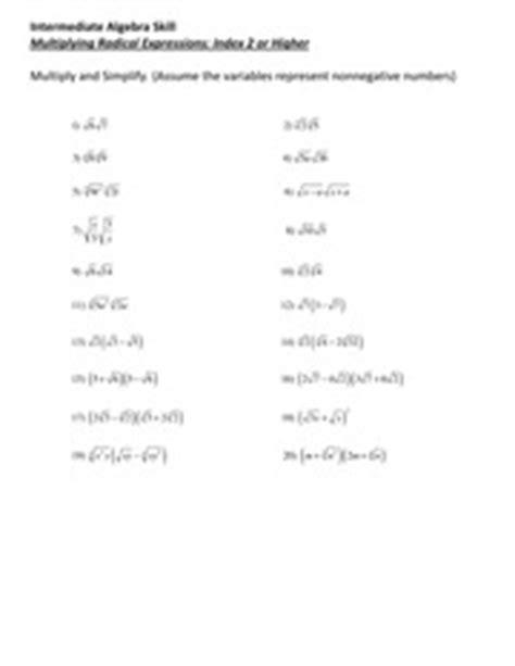 Radical Operations Worksheet by Simplifying Radicals Kuta Worksheet Algebra 2 Adding And