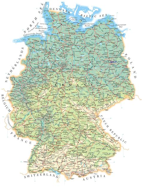 germany physical map physical map of germany size