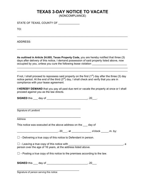 free texas 3 day notice to quit form non compliance