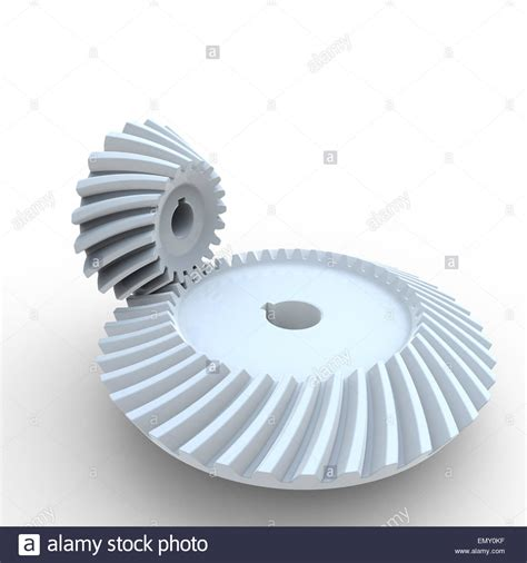 8 T Plastic Pinion Gear Set white plastic crown and pinion spiral bevel gears on a white stock photo royalty free