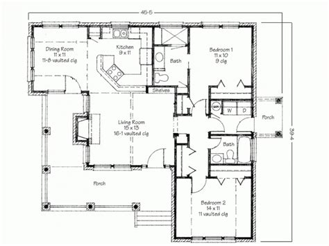 Floor Plans For Small 2 Bedroom Houses Two Bedroom House Simple Floor Plans House Plans 2 Bedroom