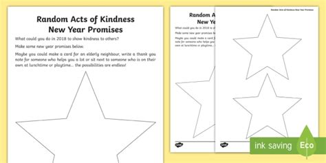 new year writing ks1 ks1 random acts of kindness new year promises writing