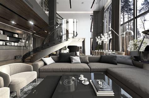 luxurious apartments  dark modern interiors
