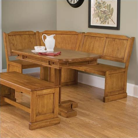 oak kitchen table with bench home styles wood kitchen dining nook corner bench