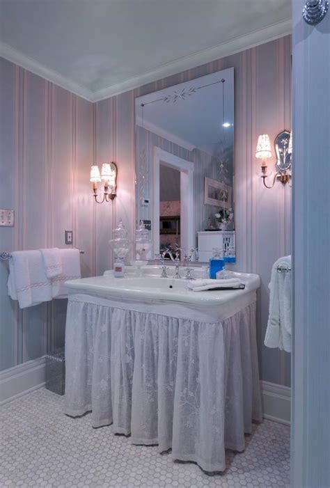 english country bathroom english country bathroom in centerport curtain around bottom of sink white towels