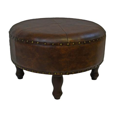 Leather Stool Ottoman Faux Leather Ottoman Stool In Brown Ywlf 2523 Br
