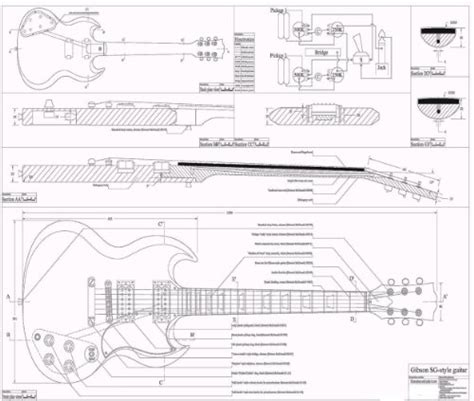 gibson sg template useful guitar plans printable woody work