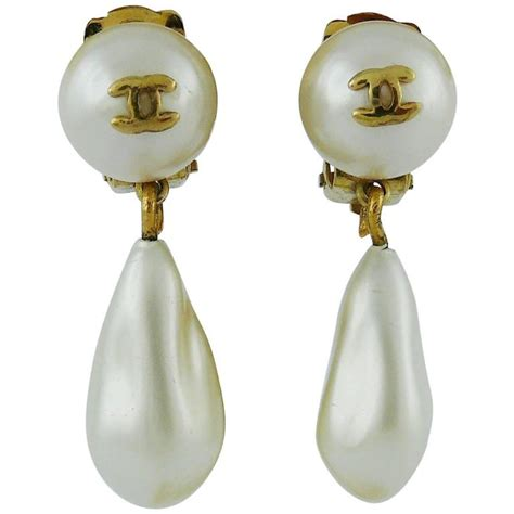 chanel vintage faux pearl dangling cc earrings for sale at