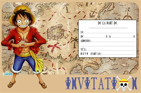 Invitation Anniversaire One Piece Luffy 123 Cartes