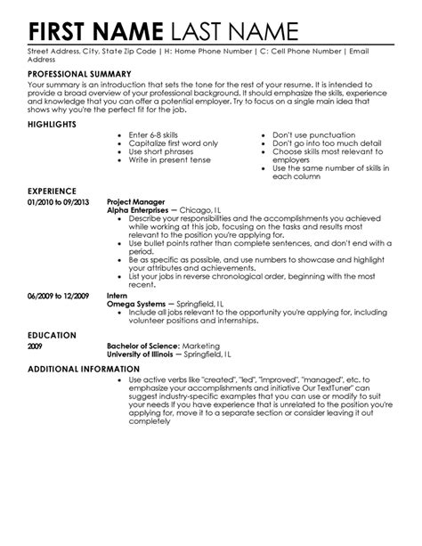Professional Resume Template Free by Free Professional Resume Templates Livecareer