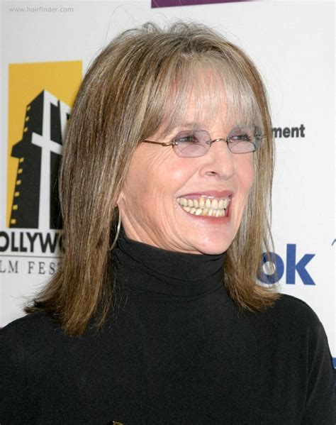 what hair color is easy on wrinkles diane keaton shoulder length hairstyle with thin bangs