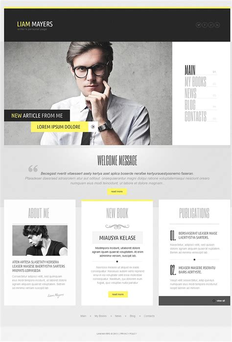 layout for biography writer s personal page wordpress theme 44020