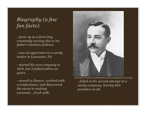 biography with facts milton hershey