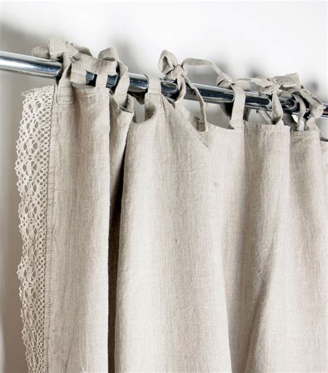 hand made curtains lace linen curtain custom length ties top window curtains