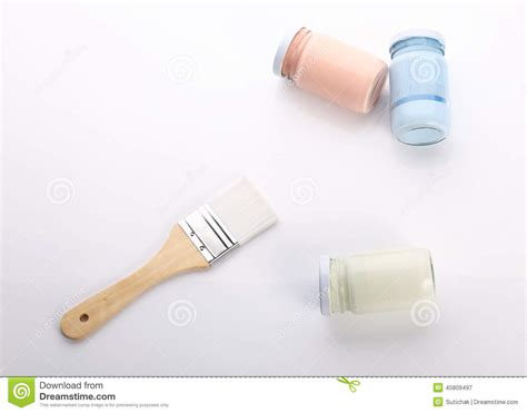 brush and bottle glass of color for painting stock photo image 45809497