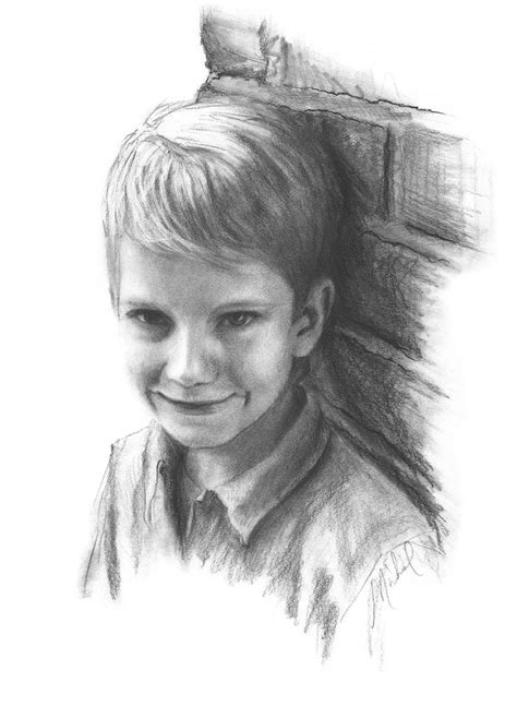 B Drawing Pencil by Custom Conte Pencil Portrait Drawing Of Boy On Paper 18 Quot X