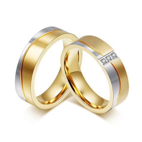 gold color alliance ring cubic zirconia wedding band ring
