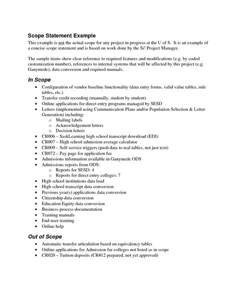 project management statement of work template best photos of project scope document sle project