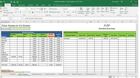 rental property balance sheet template rent calculator landlord template rental property profit