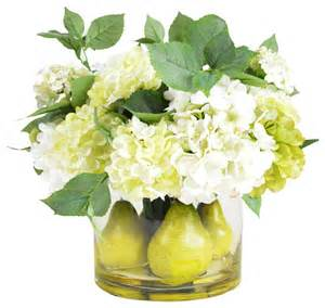 Large Green Floor Vase Pear And Hydrangea Centerpiece Arrangement Contemporary