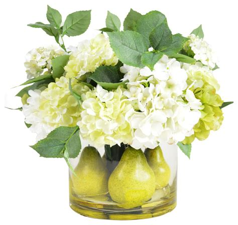 artificial centerpieces creative displays inc pear and hydrangea centerpiece