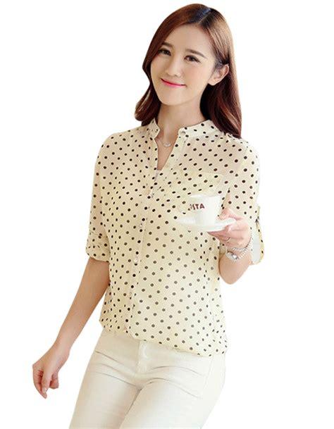 blouse list v new arrival casual chiffon blouse v neck polka dots
