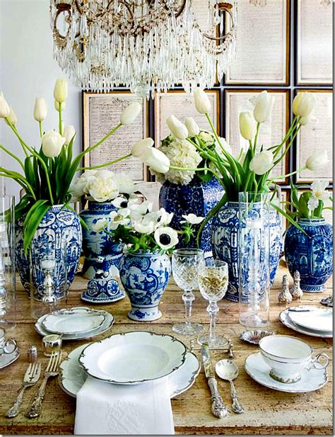 Dining Table Decor Blue Luby Mathis Interiors