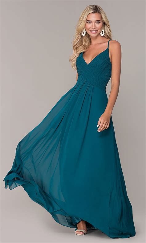 long chiffon ruched bodice prom dress promgirl