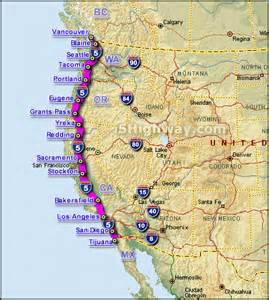 map of west coast of america about the i 5 highway images frompo