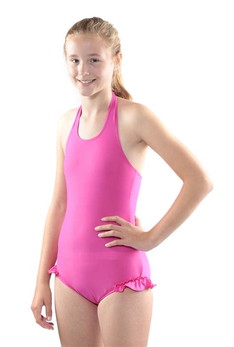 young girls swimwear age 13 kes vir girls halterneck swimsuit with leg frill seenin