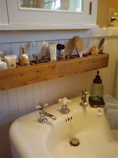 over the bathroom sink organizer wood box for storage over a pedestal sink too rustic