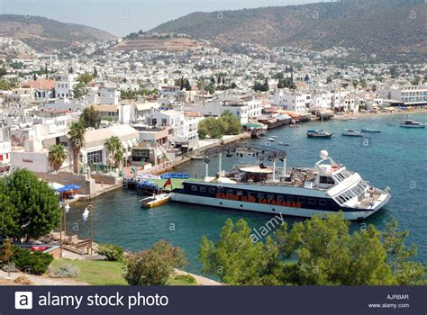 catamaran ship bodrum panorama of bordum in turkey with famous disco marine club