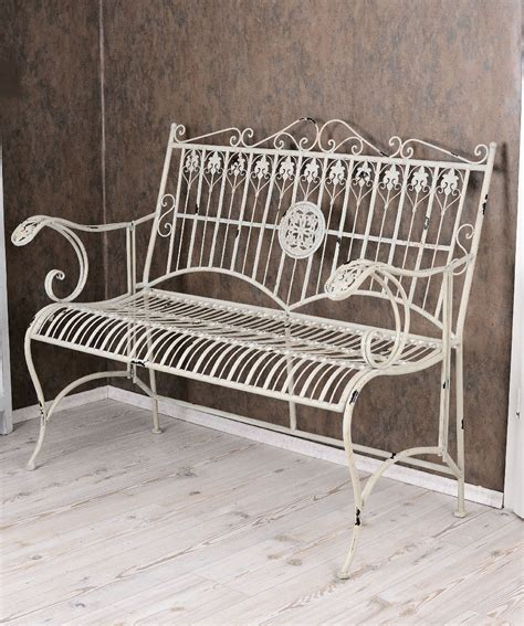 antique metal bench bench shabby chic bank white garden bench vintage metal