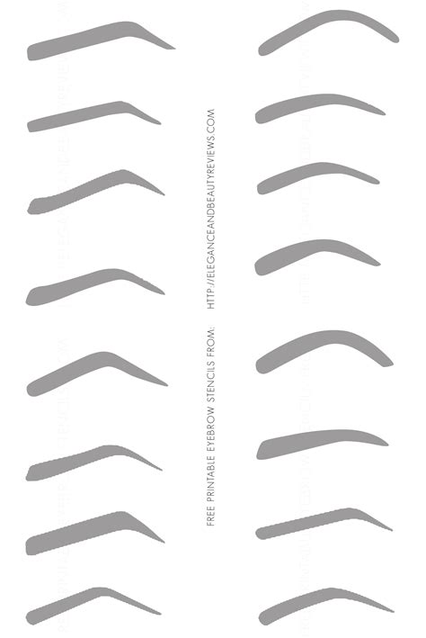 eyebrow templates free printable eyebrow stencils