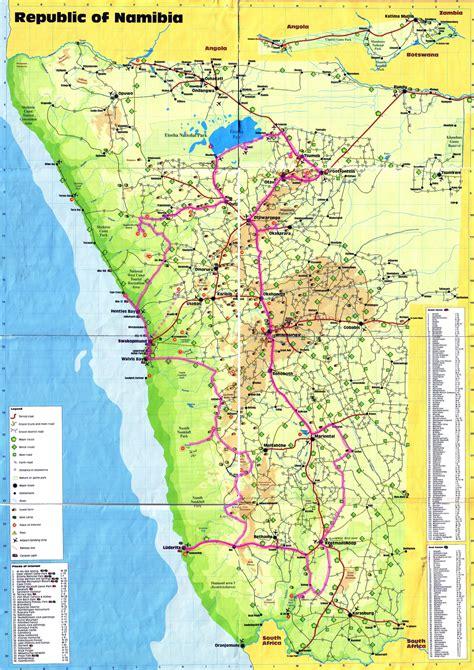printable road map of namibia large detailed travel map of namibia namibia large