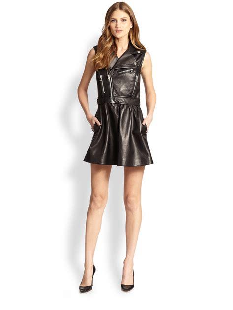 Valentino Ethnic Ori Leather Black valentino leather moto jacket dress in black lyst